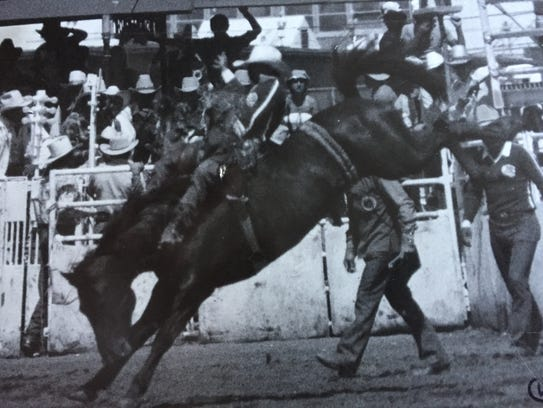 George Cook rides at the Calgary Stampede in 1979.