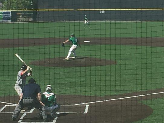 Seton Catholic Central's Mason Vaughan pitches during