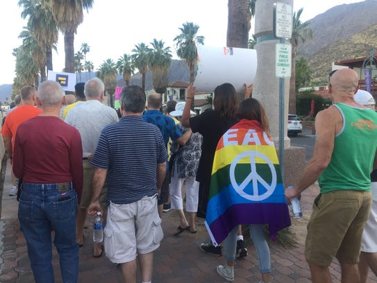 Marchers at a unity march in Palm Springs.