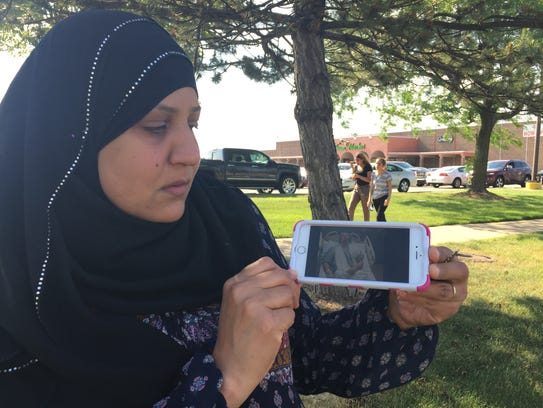 Daher Al-Mayhi, 50, of Dearborn Heights, attends protest