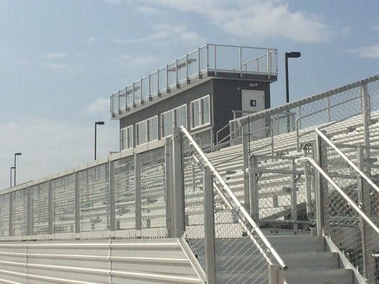 The new press box and home bleachers at Springfield