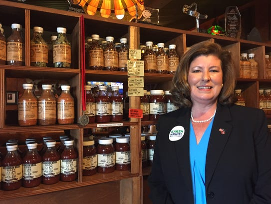 Karen Handel poses at a campaign meet and greet June
