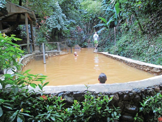 The sulfur soaking pools at Tia's in Dominica.
