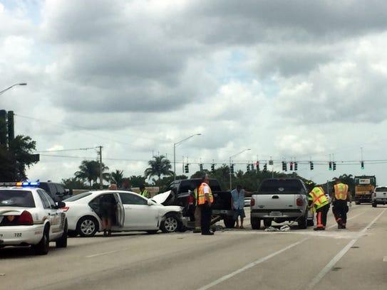 This crash blockedthe center lane for southbound traffic