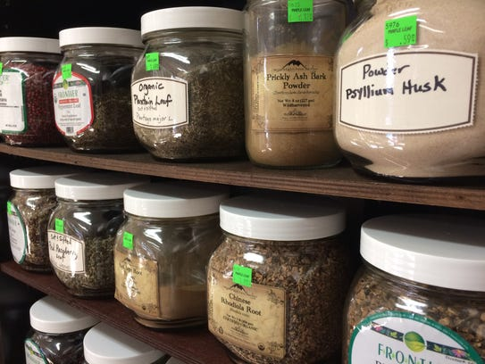 Bulk herbs at Maple Leaf Natural Health Store in Jackson,