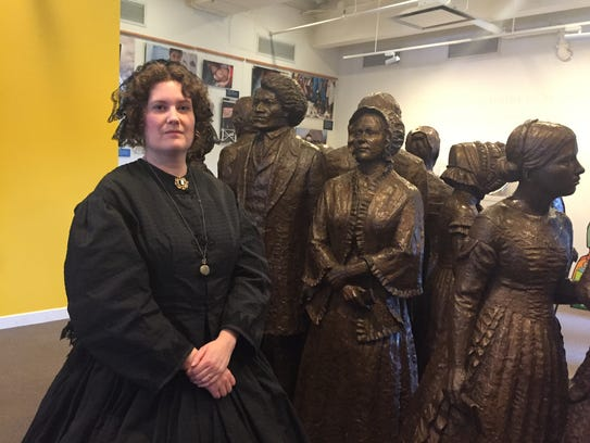 Melinda Grube plays Elizabeth Cady Stanton at the Women's
