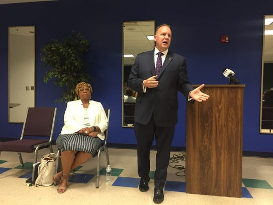 Wilmington Police Chief Robert Tracy speaks to city