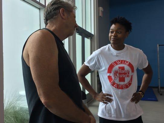 WNBA standout Alana Beard talks with members of Shreveport's