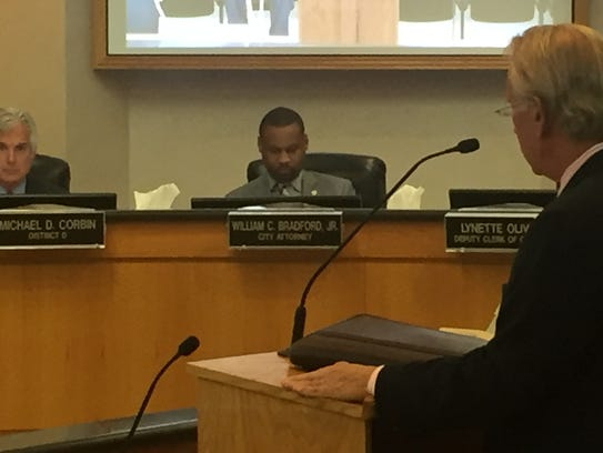 City Attorney William Bradford signed a non-disclosure agreement before listening to a presentation from Manchac Consulting about a city water billing error.