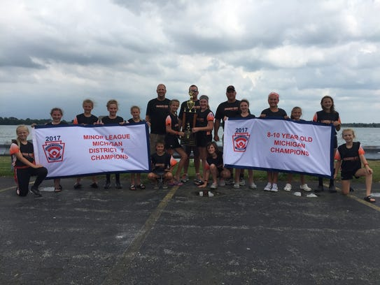 The Marine City 10-and-under softball team is celebrating