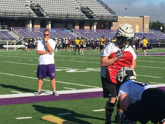 New USF coach Jon Anderson watches practice Thursday