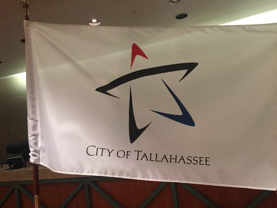 The flag of the city of Tallahassee is on display in