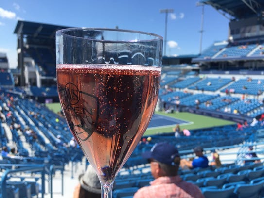 A glass of pink Moet and Chandon pink Champagne at