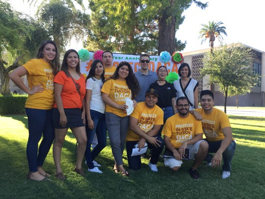 A group of DACA recipients pose Aug. 15, 2017, for