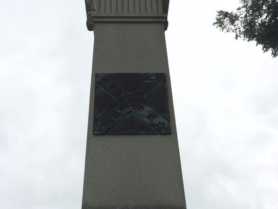 A detail on the Confederate monument in Parksley, Virginia