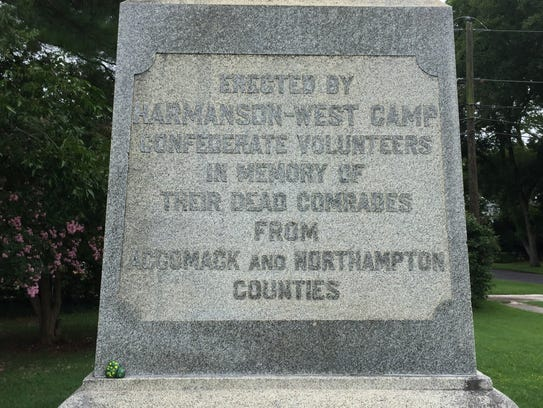 An inscription on the Confederate monument in Parksley,