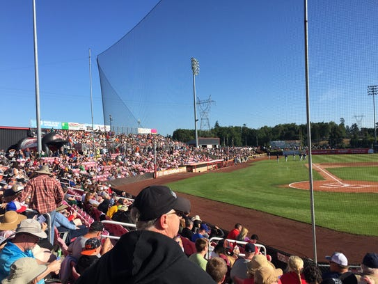 Baseball and eclipse fans joined at Volcanoes Stadium