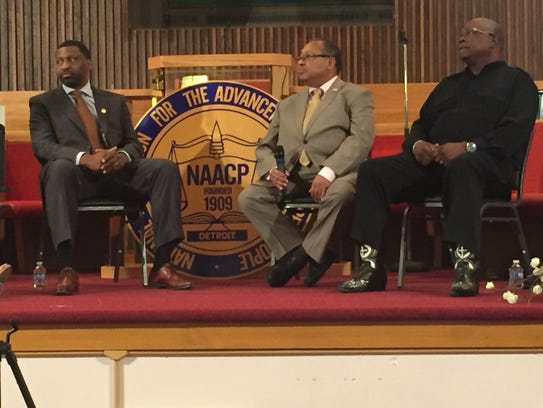 From left, Derrick Johnson, president of the NAACP,