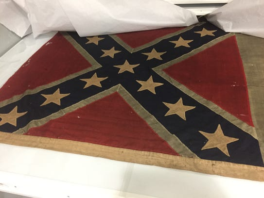 A Confederate battle flag captured by Iowa troops