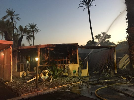 A mobile home in Indio's Palmdale Estates was destroyed