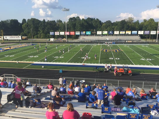 The Bombers warm up on the brand new turf of Bomber