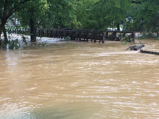 Much of the City of Springfield's greenway was underwater