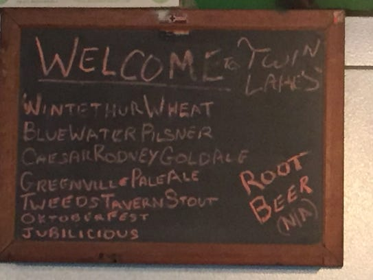 Pints at the Twin Lakes Brewing Co. tasting room are