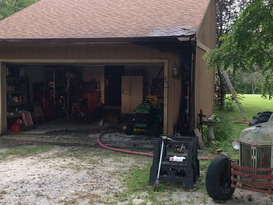 A Tuesday morning fire damaged the garage of a Walnut