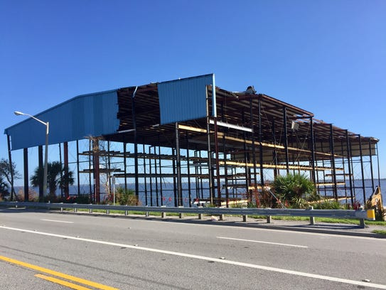 Hurricane Irma damaged the old boat storage building
