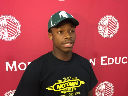 Elijah Collins after committing to Michigan State on