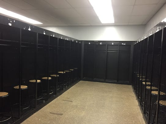 Inside Purdue's visiting team locker room facility.