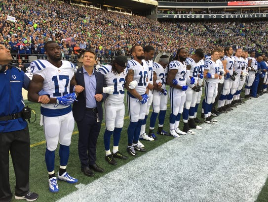 Colts General Manager Chris Ballard joined players