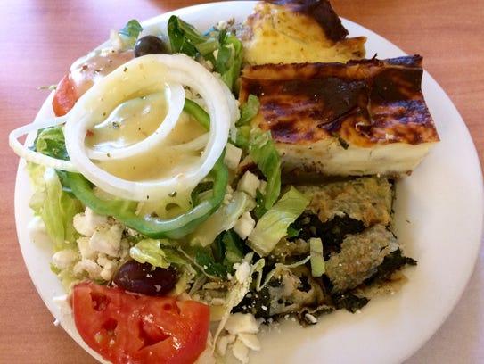 Greek combination platter at Pappas Diner.