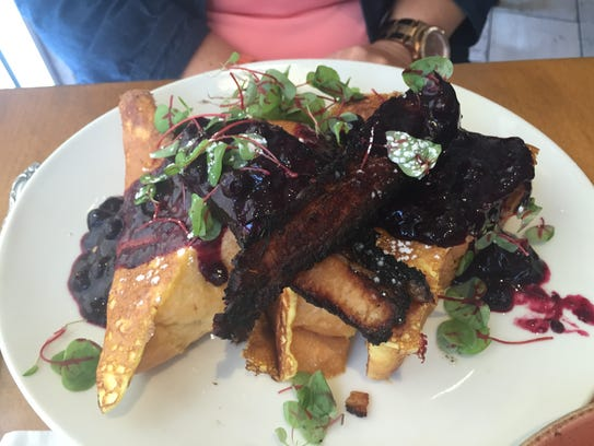 The huge stack of Challah French Toast makes for a