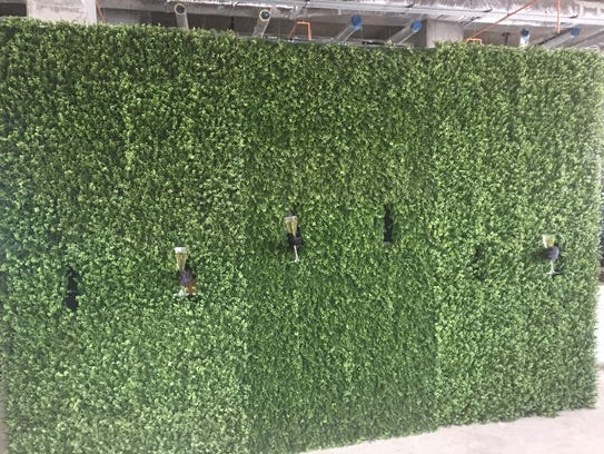 People holding glasses behind a wall of landscaping