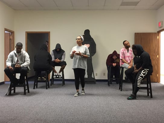Brenda Wesley discusses mental illness in a rehearsal