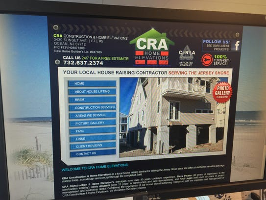 A photograph of CRA Construction's website.