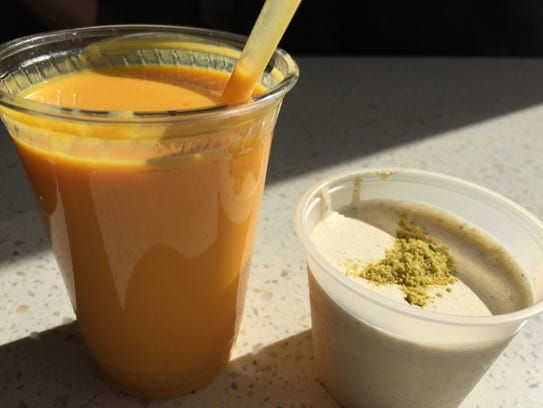 Mango lassi, left, is a creamy, yogurt-based drink.
