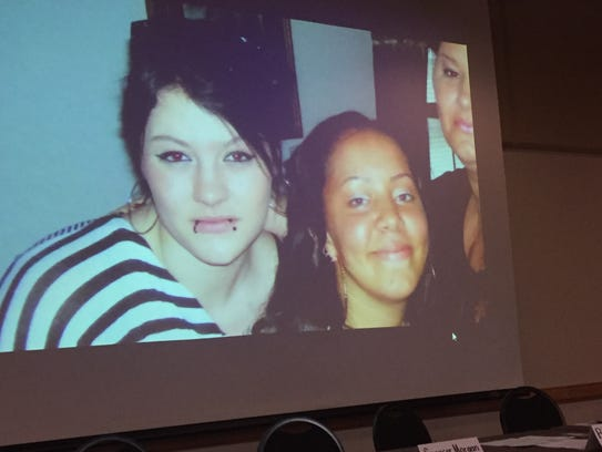 """An image fills the screen from """"No Second Chance,"""" a video produced by the Virginia State Police that premiered at a community forum on opioid awareness held at Eastern Shore Community College in Melfa, VIrginia on Tuesday, Oct. 24, 2017."""