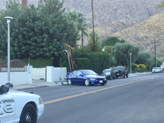 One of the cars involved in a downtown Palm Springs