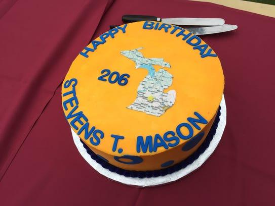 "A birthday cake for Stevens T. Mason, Michigan's ""Boy"