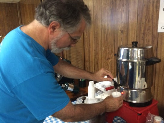 Mike Eliades makes Greek Coffee at the 52nd annual