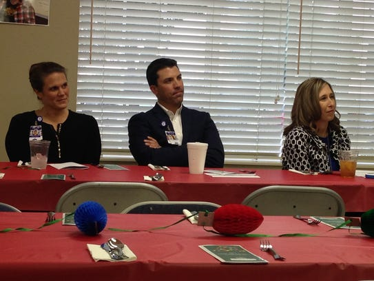 From left, Amy Linn, RN, Hospice in-patient center coordinator, Jake Truette, capital campaign manager, and Hospice of Wichita Falls CEO Alisa Echols, listen to Shelia Reynolds during a Tree of Lights kick off luncheon Tuesday.
