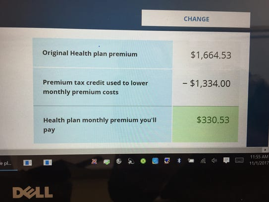 A screen of the Obamacare website shows Deb Hanson