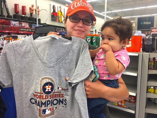Astros fan Denise Vallego and daughter Aria.