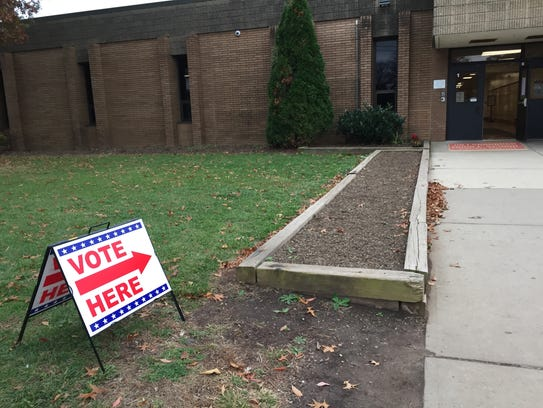 The polling place at Hillsborough Township Middle School