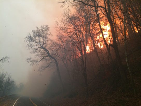 Just before 5 p.m. Nov. 28, 2016, the wildfire rages