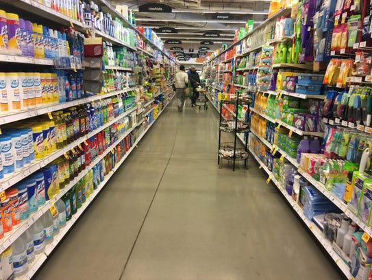 A general merchandise aisle at the new Downtown Kroger,