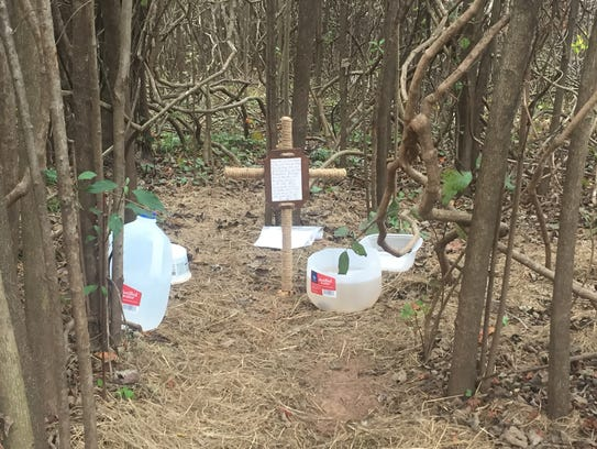 A cross has been left in the where where Shep lived and was fed by multiple members of the community.