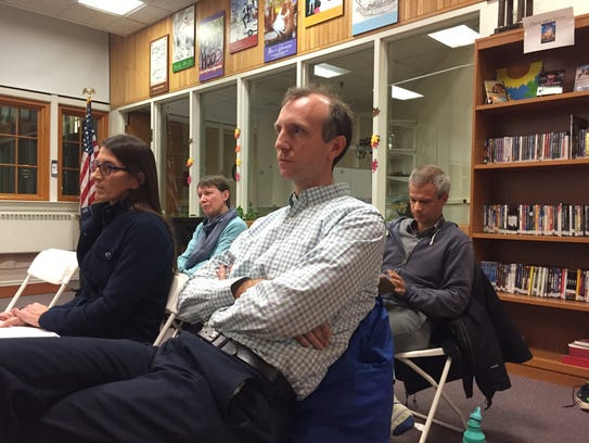 Dan Cunningham described himself as a Burlington tax payer in his comments about Superintendent Yaw Obeng's potential contract renewal at Edmunds Middle School library on Nov. 28, 2017.